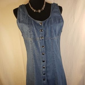 Magic Vintage 90's Sleeveless Denim Dress Button M